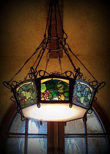 art nuoveou light fixture tiffany inspired grapevine motif tutor house stained glass